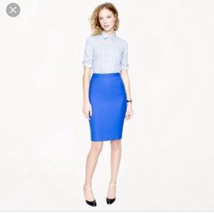 J Crew No 2 Pencil Skirt Cobalt Blue Sz 4